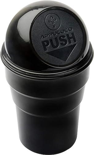 APPUCOCO Mini Car Trash Bin Can Holder Dustbin - Black (L 17 x W 6.5 cms)