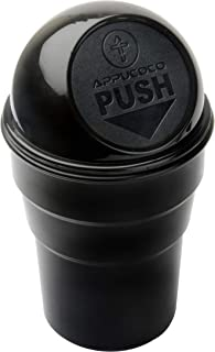 APPUCOCO Mini Car Trash Bin Can Holder Dustbin - Black (L 17 x W 6.5 cms)