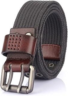 Longwu 2021 Fashion Canvas Web Belts for Men Women,Double Grommet Hole Buckle Belt