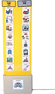 Boy Two Strip Night and Day, First-Then Daily Schedule Great Behavior Visual Tool for Independence and Structure at Home, School, and in The Community. (Yellow/Gray, Home (30 Cards)