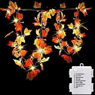 Luditek 14.7ft Thanksgiving Decorations Autumn Garland - Thanksgiving Decor Fall Garland Lights with 40 LED - 8 Blinking Modes -Waterproof-Friendsgiving Decorations