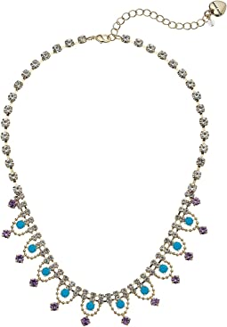 Betsey Johnson Crystal and Gold Frontal Necklace