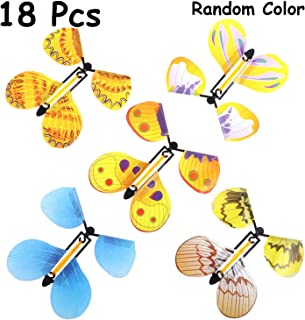 B bangcool Magic Flying Butterflies Rubber Band Powered Funny Wind Up Butterfly Toy Fairy Toy Surprise Gift (18Pcs in random type)