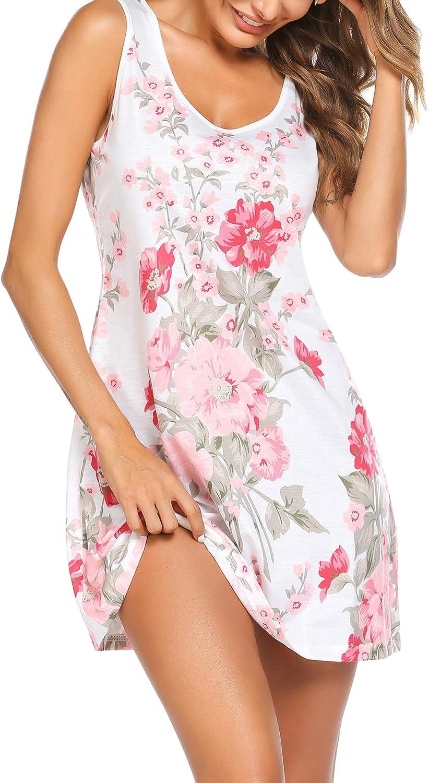 Ekouaer Women Nightgown Sleepwear Sleeveless Sleep Shirt Casual Print Sleepdress