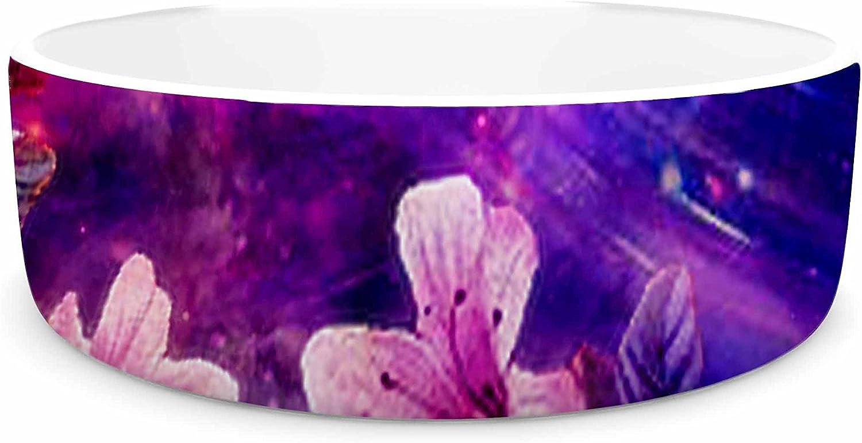 KESS InHouse Shirlei Patricia Muniz Space Flowers  Pink Purple Pet Bowl, 7