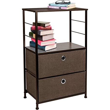 Sorbus Nightstand 2-Drawer Shelf Storage - Bedside Furniture & Accent End Table Chest for Home, Bedroom, Office, College Dorm, Steel Frame, Wood Top, Easy Pull Fabric Bins (Brown)
