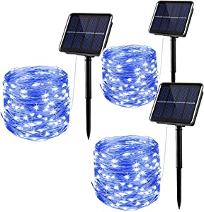Solar String Lights Outdoor,3 Pack 33FT 100 LED Silver Wire Waterproof Solar Power Decorative Fairy Lights with 8 Modes for Garden Patio Yard Decor, Dusk to Dawn Auto On/Off (Blue)