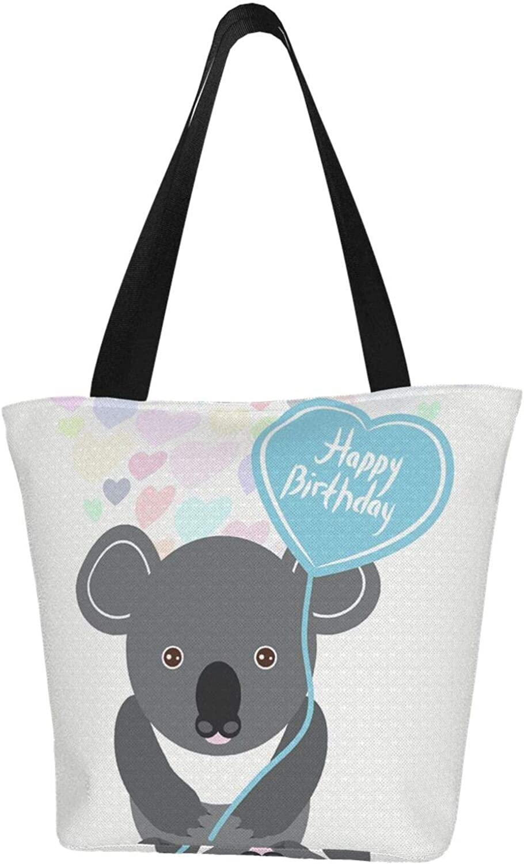 Cartoon Birthday Koala Heart Themed Printed Women Canvas Handbag Zipper Shoulder Bag Work Booksbag Tote Purse Leisure Hobo Bag For Shopping