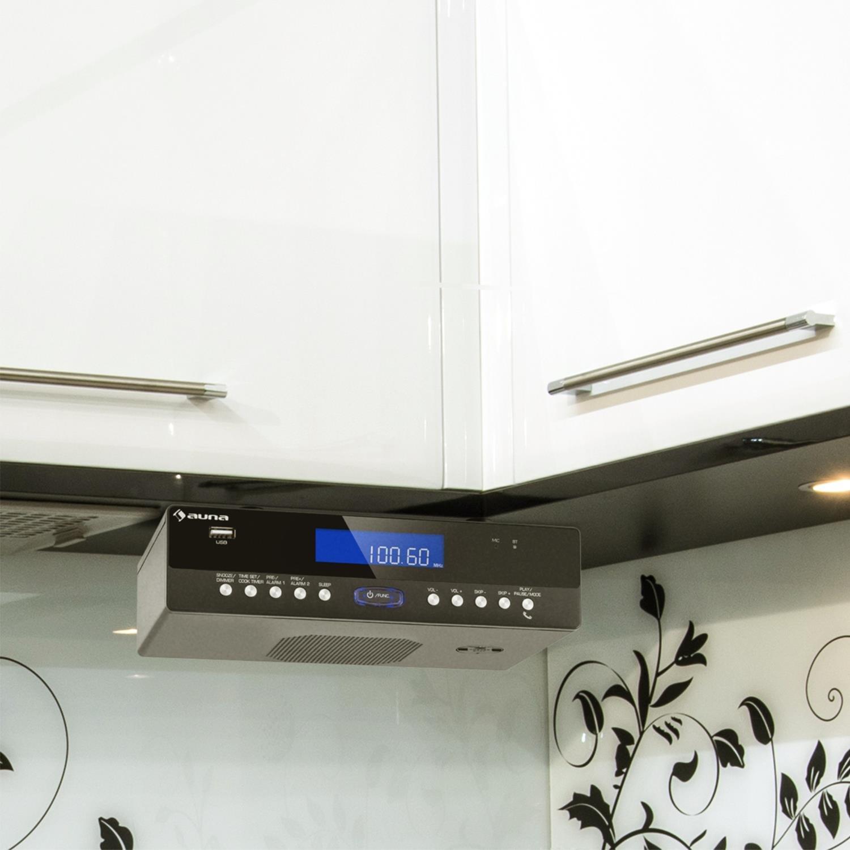 AUNA KR-100 BK Radio de Cocina (Radio para Mueble, FM, Sintonizador Manual y automático, Memoria 30 emisoras, Bluetooth, Manos Libres, Puerto USB Compatible con MP3, Alarma Dual): Amazon.es: Electrónica