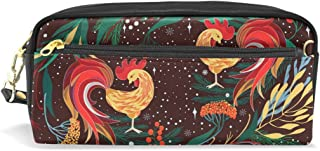ALAZA Rooster Floral Pencil Case Zipper PU Leather Pen Bag Cosmetic Makeup Bag Pen Stationery Pouch Bag Large Capacity