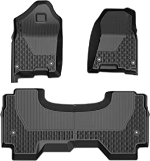 Floor Mat Liner TPE Rubber Carpet Medesasi Compatible with 2019 2020 2021 Ram 1500 Quad Cab, OEM Front & 2nd Seat Floor Mats Liners, with 1st Row Bucket Seat, Black, All-Weather Guard