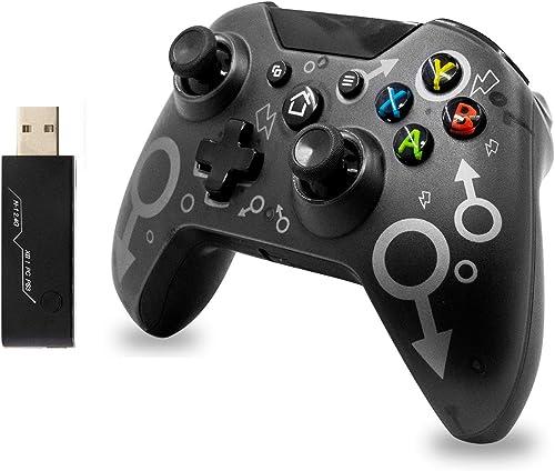 Manette sans fil pour Xbox One / Xbox One S / Xbox One X / PS3 / PC, Contrôleur de jeu sans fil 2.4G avec double vibr...