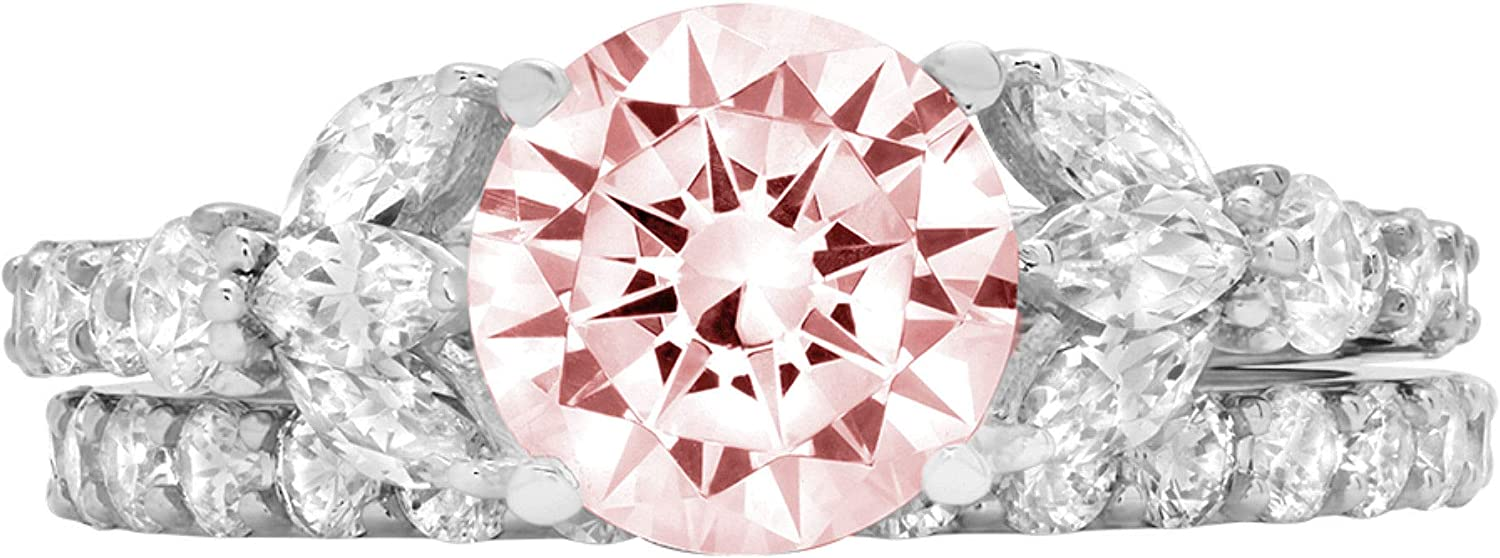 2.72ct Round Marquise Cut Solitaire 3 stone Accent Pink Simulated Diamond CZ Engagement Promise Statement Anniversary Bridal Wedding Ring Band set Real Solid 14k White Gold