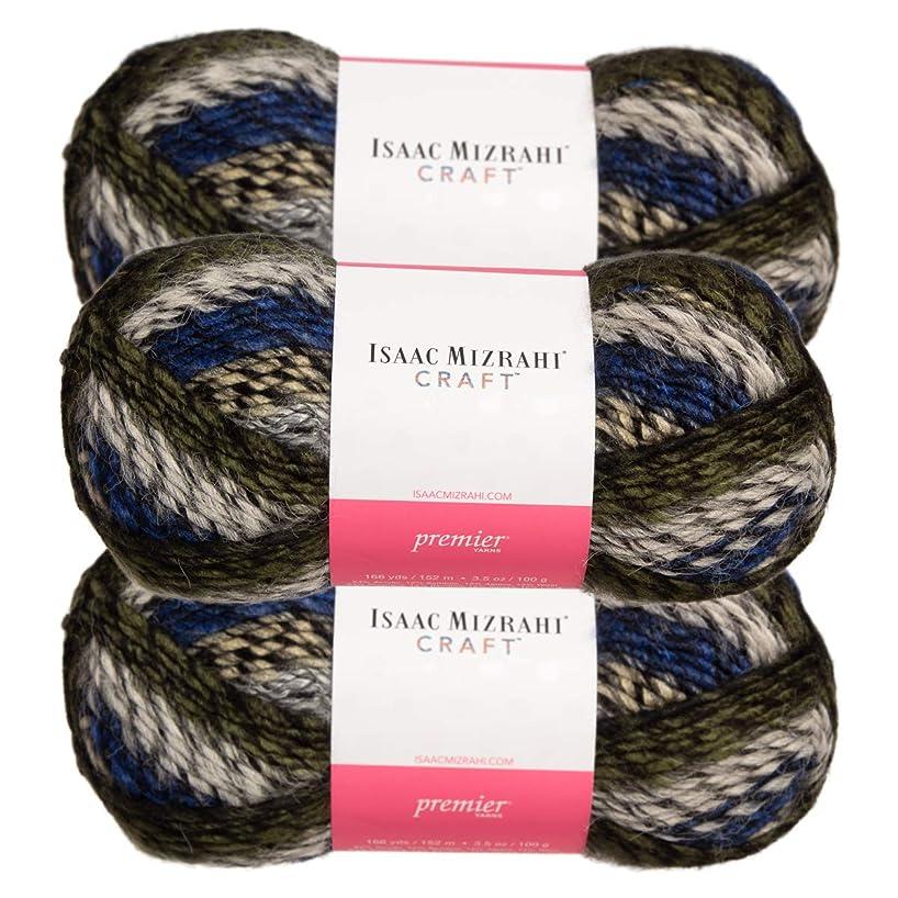 Premier Yarns (3 Pack Isaac Mizrahi NY Skyscraper Acrylic Soft Hearst Gray White Black Blue Yarn for Knitting Crocheting #5 Bulky