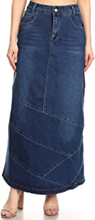 Women's Plus/Junior Size High Rise Pencil Long Jeans Maxi Denim Skirt