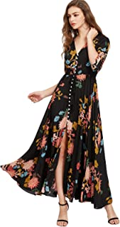 79cca33566 Milumia Women s Button Up Split Floral Print Flowy Party Maxi Dress