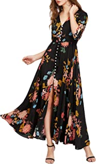 Women's Button Up Split Floral Print Flowy Party Maxi Dress Black and Yellow