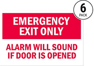 Alarm Will Sound Emergency Exit Sticker Signs (Pack of 6) by Sutter Signs