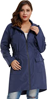 Hanna Nikole Women's Plus Size Lightweight Raincoat Travel Hoodie Rain Jacket