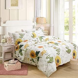 Softta Shabby Floral Sunflower Design Bedding Queen Size 3Pc(1 Duvet Cover +2 Pillowcase/Shams) 60% Bamboo Fiber + 40% Egyptian Cotton Small Fresh