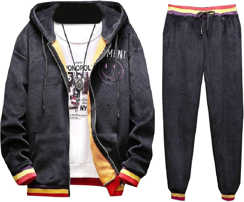 Tryist Mens Brumal Fleece Lined Hoodie Athletic Velvet Tracksuit Set