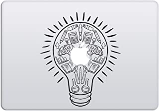 Laptop Stickers MacBook Decal - Removable Vinyl w/Glowing Apple Logo Diecut - Light Bulb Brain Sticker Black Decal Skin for MacBook Air Pro 13 15 inch Mac Retina - Best Decorative Sticker - Artsybb