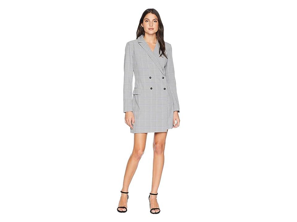 Image of Adelyn Rae Celeste Woven Plaid Blazer Dress (Grey) Women's Jacket