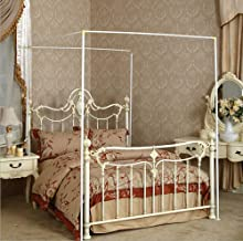 Mengersi Bed Canopy Curtain Bed Frame Post (Queen, White)