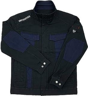 [BMC ブルーモンスタークロージング] ジャケット メンズ 作業服 作業用 ストレッチ チノ素材 ライダース ブルゾン クレイジーブラック