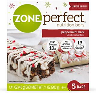 Zone Perfect Nutrition Snack Bars, Limited Edition Peppermint Bark, 1.41 oz (Pack of 5)