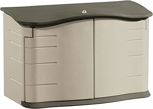 Rubbermaid - FG374801OLVSS Small Horizontal Resin Weather Resistant Outdoor Garden Storage Shed, Olive and Sandstone ...