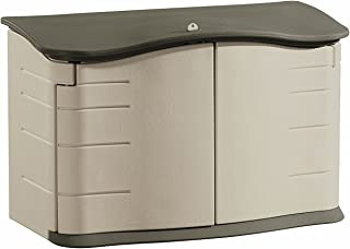 Rubbermaid - FG374801OLVSS Small Horizontal Resin Weather Resistant Outdoor Garden Storage Shed, Olive and Sandstone Oliv...
