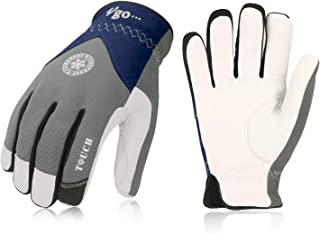 Vgo 32℉ or above 3M Thinsulate C40 Winter Goatskin Leather Waterproof Work Gloves(1Pair,Size L,Grey,GA7356FW)