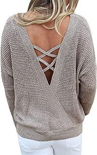 Fessceruna Women Backless Pullover Sweater Criss V Cross Long Sleeve Crew Neck Knit Jumper Top