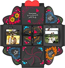 """DOGAR – Creative Explosion Gift Box - Assembled DIY Handmade Surprise Box - Love Picture Box as Birthday Gift, Wedding Gifts, Anniversary or Valentine's Day - Black- Fold 4.7""""x 4.7"""""""