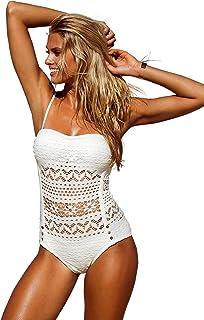 48c4ba78f29c0 LookbookStore Women s Crochet Lace Halter Straps Swimsuits Bathing Suit US  ...