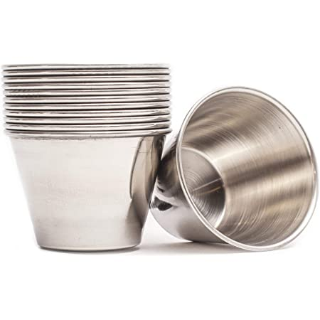 Set of 12 Stainless Steel Sauce Cups 1.5 tall x 2.25 opening diameter