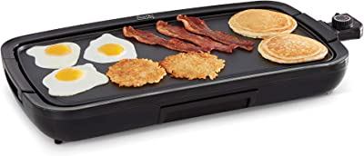 """Dash Everyday Nonstick Deluxe Electric Griddle with Removable Cooking Plate for Pancakes, Burgers, Quesadillas, Eggs and Other Snacks, Includes Drip Tray + Recipe Book, 20"""" x 10.5"""", 1500-Watt, Black"""