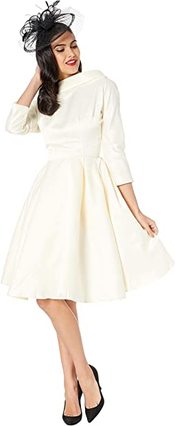 1950s Style Satin Sleeved Lana Bridal Dress