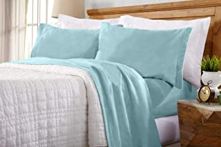 Home Fashion Designs Maya Collection Super Soft Extra Plush Fleece Sheet Set. Cozy, Warm, Durable, Smooth, Breathable Winter Sheets in Solid Colors (Queen, Cloud Blue)