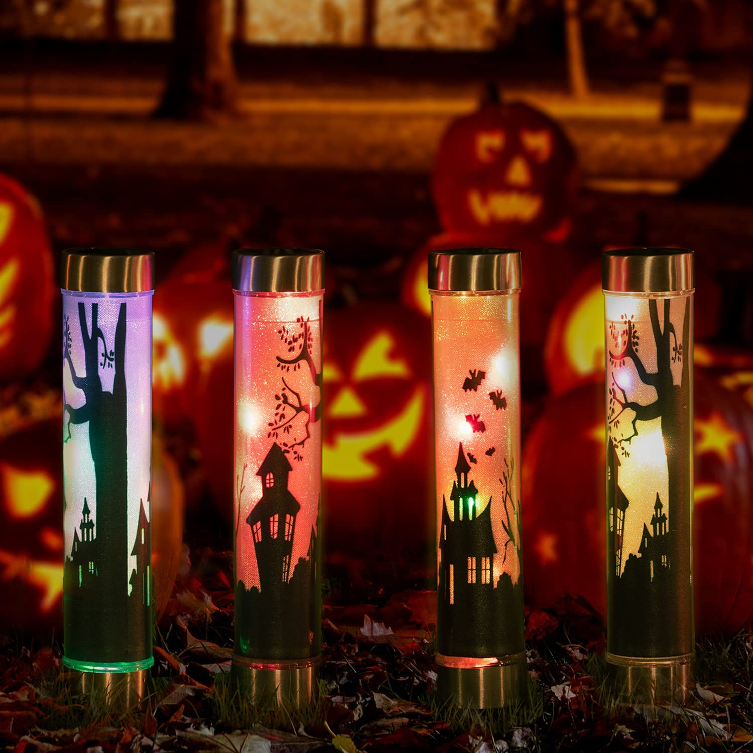 4 Max 62% OFF Sale SALE% OFF Pack Solar Pathway Lights Halloween Color Outdoor Decorations