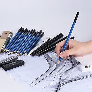 32pcs/Set Professional Drawing Sketch Pencil Kit Including Sketch Pencils Graphite & Charcoal Pencils Sticks Erasers Sharp...