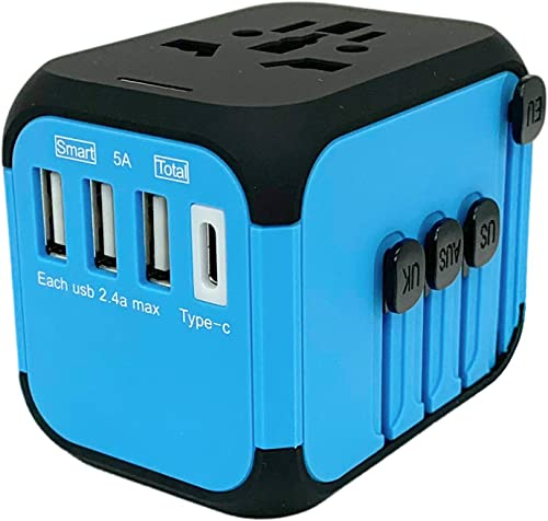 Jollyfit International Universal Travel Adapter Type C and 3 USB Charger Power Wall Plug US UK AU EU Worldwide 150 Co...
