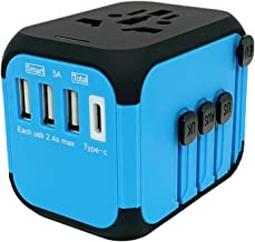 Jollyfit International Universal Travel Adapter Type C and 3 USB Charger Power Wall Plug US UK AU EU Worldwide 150 Countries with Safe Fuse for Europe British European Adapter (Blue 3 USB and Type-C)