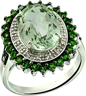 RB Gems Sterling Silver 925 Ring Genuine GEMS 6.60 Cts, Oval 14x10 mm Rhodium-Plated Finish, Flower Style