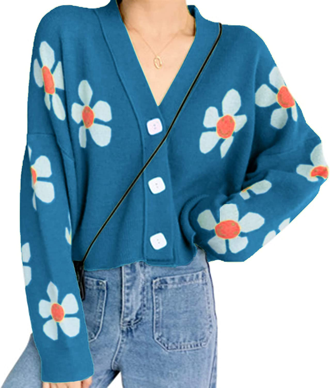 Meladyan Women's Flower Knit Loose Cardigan Button Long Sleeve V Neck Crop Sweater Cardigan Tops