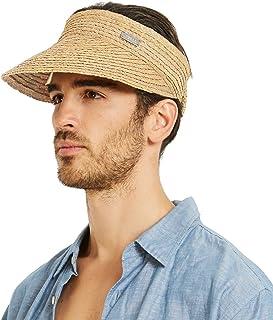 IKEPOD Raffia Straw Braid Visor Hat, UPF 50+ Wide Brim Roll Up Foldable Sun Cap