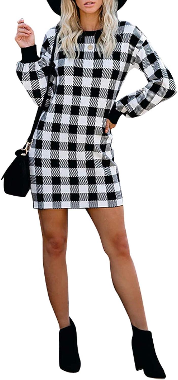 Women's Long Sleeve Plaid Print Round Neck Elegant Wear to Work Pencil Dress
