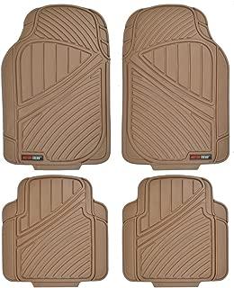 Motor Trend FlexTough Standard - 4pc Set Heavy Duty Rubber Floor Mats for Car SUV Van & Truck (Tan Beige) (MT-774-BG)