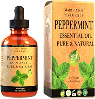 Peppermint Essential Oil 4 oz, by Mary Tylor Naturals, Premium Therapeutic Grade, 100% Pure, Perfect for Aromatherapy, Rel...